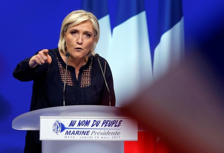 Marine Le Pen, French National Front (FN) political party leader and candidate for French 2017 presidential election, addresses supporters during a political rally in Metz, France, March 18, 2017. REUTERS/Vincent Kessler