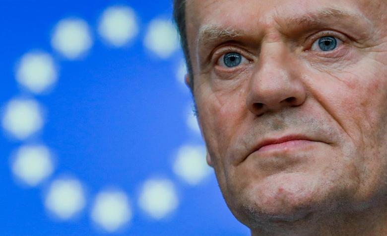 FILE PHOTO: European Council President Donald Tusk takes part in a news conference after being reappointed chairman of the European Council during a EU summit in Brussels, Belgium, March 9, 2017. REUTERS/Yves Herman/File Photo