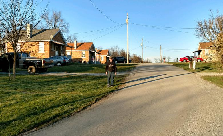 David Stawovy, owner and manager of the town, walks down a street in Reduction, Pennsylvania, March 23, 2017.  Photo courtesy of Patricia Stawovy/Handout via REUTERS