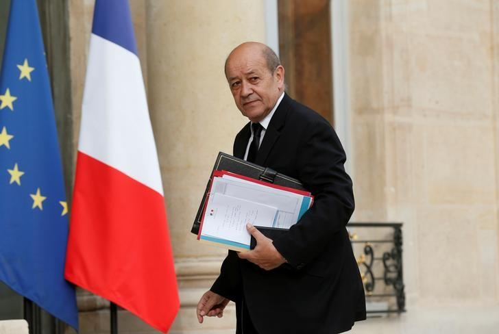 FILE PHOTO: French Defence Minister Jean-Yves Le Drian arrives to attend a defence council at the Elysee Palace in Paris, France, July 27, 2016.  REUTERS/Benoit Tessier/File Photo