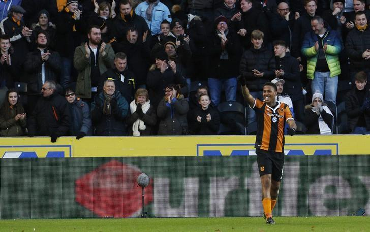 Britain Football Soccer - Hull City v AFC Bournemouth - Premier League - The Kingston Communications Stadium - 14/1/17 Hull City's Abel Hernandez celebrates scoring their first goal Action Images via Reuters / Craig Brough/ Livepic/ Files