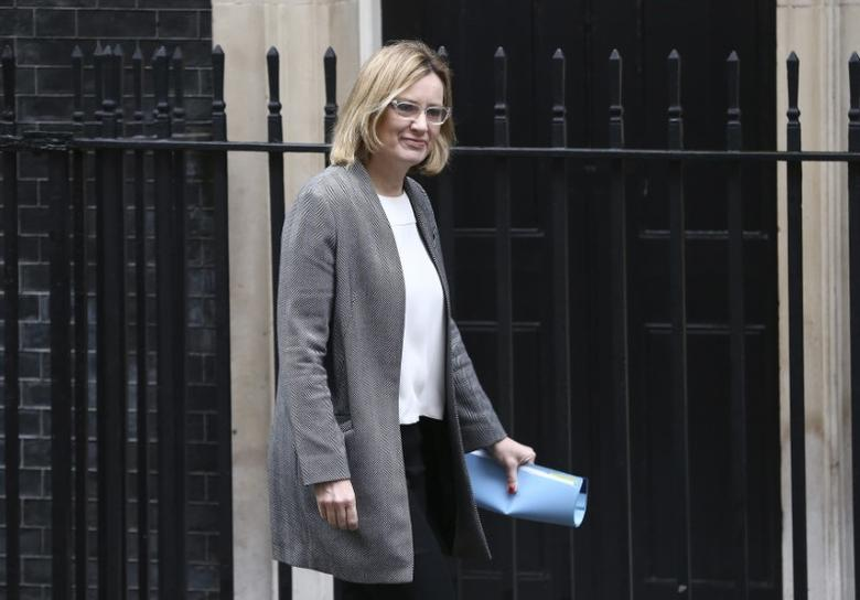 FILE PHOTO: Britain's Home Secretary Amber Rudd arrives at 10 Downing Street for a cabinet meeting ahead of the budget in London, March 8, 2017. REUTERS/Neil Hall