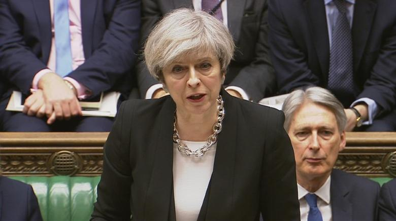 Britain's Prime Minister Theresa May speaks in Parliament the morning after an attack in Westminster, London Britain, March 23, 2017. Parliament TV/Handout via REUTERS