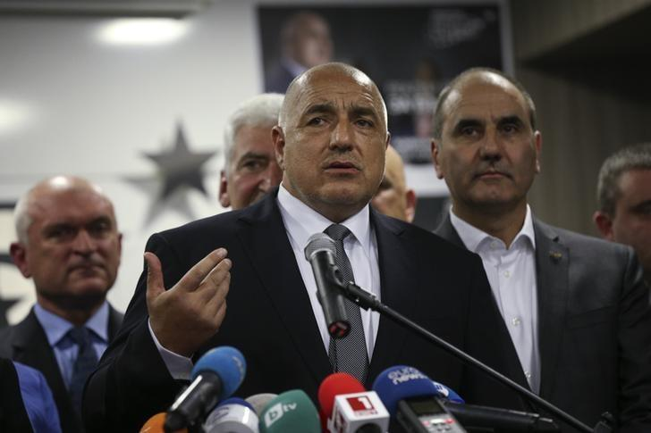 Former Bulgarian prime minister and leader of centre-right GERB party Boiko Borisov speaks during a news conference at the party's headquarters in Sofia, Bulgaria March 26, 2017.  REUTERS/Stoyan Nenov