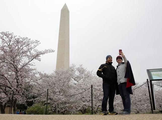 3月26日、米首都ワシントンでは、今月中頃の寒波の後は気候が和らぎ、桜の花が見頃を迎えた(2017年 ロイター/Joshua Roberts)