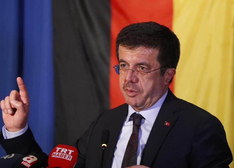 Turkey's Economy Minister Nihat Zeybekci makes a speech in Cologne, Germany, March 5, 2017. REUTERS/Wolfgang Rattay