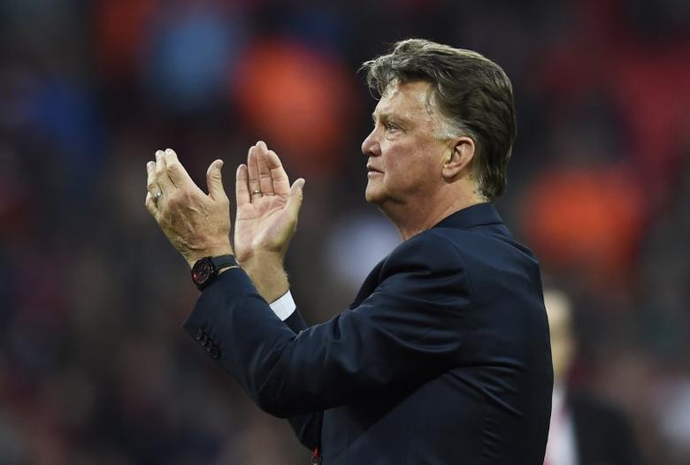 Manchester United manager Louis Van Gaal applauds the fans after winning the FA Cup. Crystal Palace v Manchester United - FA Cup Final - Wembley Stadium - 21/5/16. Reuters / Dylan Martinez Livepic