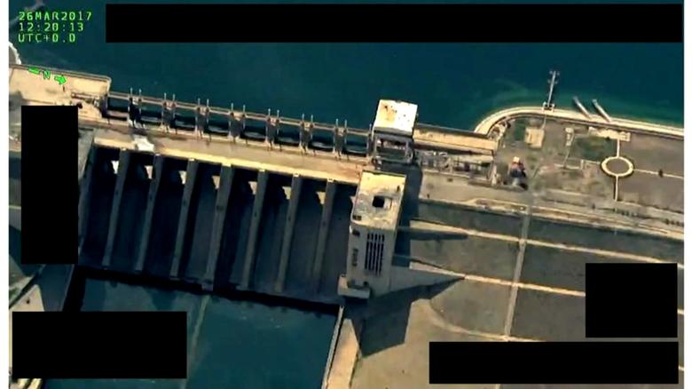 A still picture dated March 26, 2017 and released by Syrian Democratic Forces (SDF) shows the Tabqa dam on the Euphrates river, Syria. Social Media Website via Reuters TV