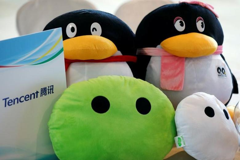 Mascots of Tencent are displayed at a registration counter during a news conference announcing the company's results in Hong Kong, China March 22, 2017. REUTERS/Tyrone Siu