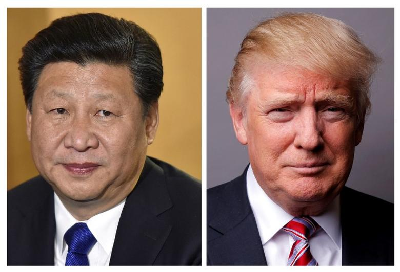 FILE PHOTO: A combination of file photos showing Chinese President Xi Jinping (L) at London's Heathrow Airport, October 19, 2015 and U.S. President Donald Trump posing for a photo in New York City, U.S., May 17, 2016. REUTERS/Toby Melville/Lucas Jackson/File Photos
