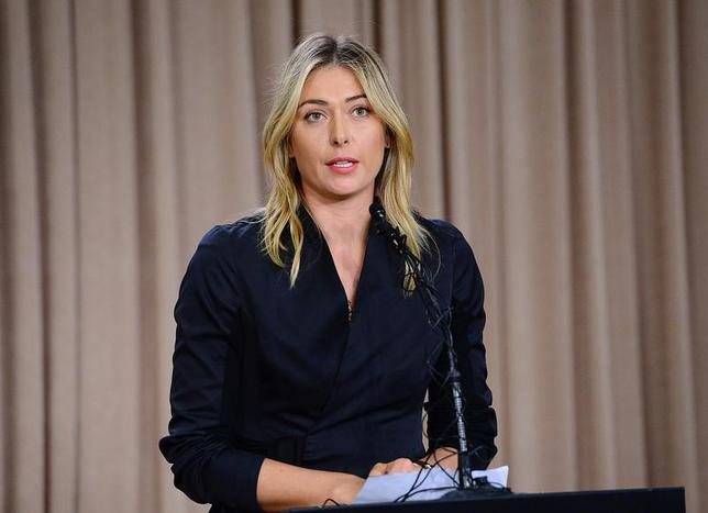 FILE PHOTO: Mar 7, 2016; Los Angeles, CA, USA; Maria Sharapova speaks to the media announcing a failed drug test after the Australian Open during a press conference today at The LA Hotel Downtown. Mandatory Credit: Jayne Kamin-Oncea-USA TODAY Sports