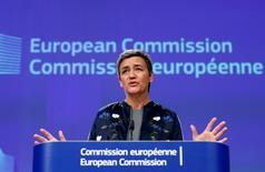 En la imagen de archivo, la comisaria de Competencia de la UE, Margrethe Vestager, en una conferencia de prensa en Bruselas. Los reguladores de competencia de la Unión Europea bloquearon el miércoles la propuesta de fusión entre Deutsche Boerse y la Bolsa de Londres (LSE), como estaba previsto, y dijeron que el acuerdo podría dañar la competencia por la combinación del poder de mercado de ambas compañías. REUTERS/Francois Lenoir