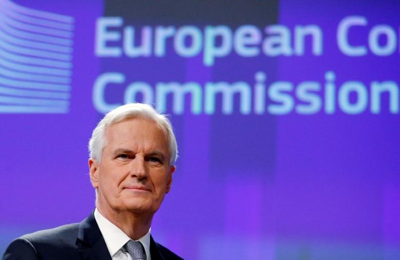 FILE PHOTO: Michel Barnier, Chief Negotiator for the Preparation and Conduct of the Negotiations with the United Kingdom under Article 50 of the Treaty on European Union, holds a news conference at the EU Commission headquarters in Brussels, Belgium December 6, 2016.  REUTERS/Francois Lenoir/File Photo - RTX333GH