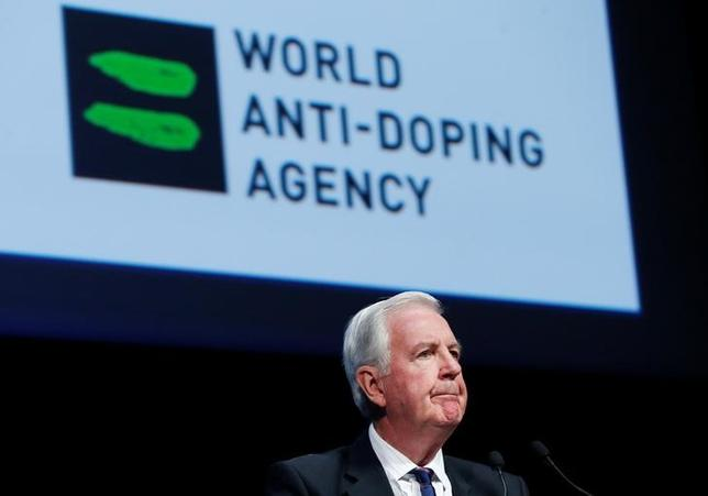 Craig Reedie, President of the World Anti Doping Agency (WADA) addresses the WADA Symposium in Ecublens, Switzerland, March 13, 2017. REUTERS/Denis Balibouse/Files