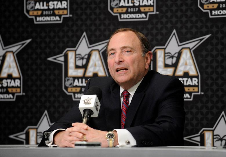 NHL commissioner Gary Bettman speaks to media before the 2017 NHL All Star Game skills compeition at Staples Center, in Los Angeles, California, U.S., January 28, 2017.  Mandatory Credit: Gary A. Vasquez-USA TODAY Sports/File Photo