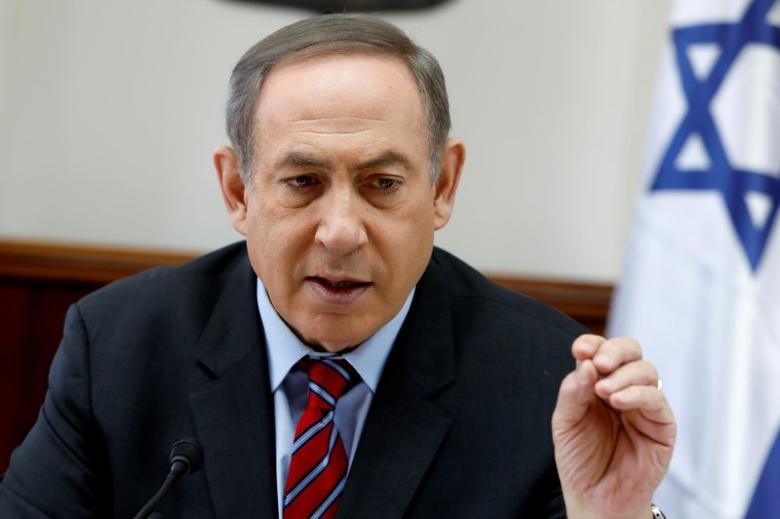 Israeli Prime Minister Benjamin Netanyahu chairs a cabinet meeting in Jerusalem March 26, 2017. REUTERS/Gali Tibbon/Pool