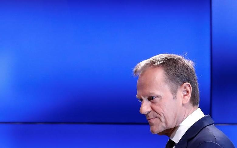 European Council President Donald Tusk arrives at a news conference after receiving British Prime Minister Theresa May's Brexit letter in notice of the UK's intention to leave the bloc under Article 50 of the EU's Lisbon Treaty, in Brussels, Belgium March 29, 2017. REUTERS/Yves Herman