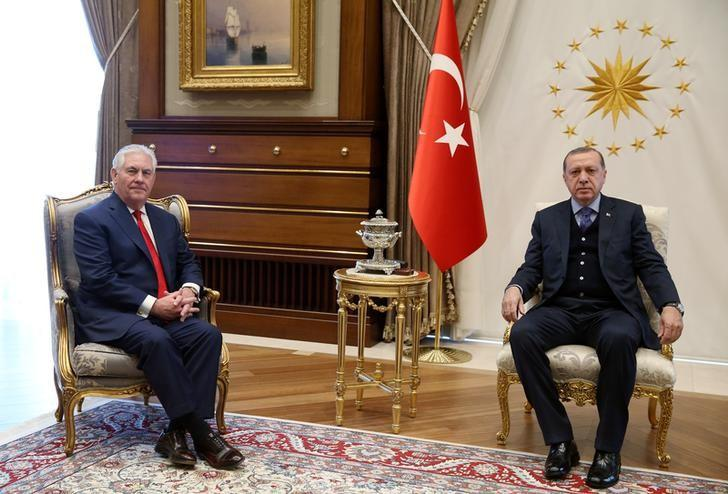 Turkish President Tayyip Erdogan meets with U.S. Secretary of State Rex Tillerson in Ankara, Turkey March 30, 2017. Yasin Bulbul/Presidential Palace/Handout via REUTERS