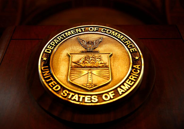 FILE PHOTO: The seal of the Department of Commerce is pictured in Washington, D.C., U.S. March 10, 2017. REUTERS/Eric Thayer