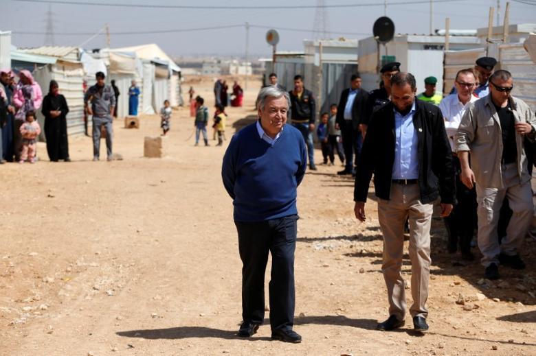 United Nations Secretary General Antonio Guterres visits Al Zaatari refugee camp in the Jordanian city of Mafraq, near the border with Syria March 28, 2017. REUTERS/Ammar Awad