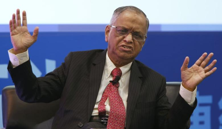 Narayana Murthy, founder of Infosys Limited, speaks during a dialogue session at the Asian Financial Forum in Hong Kong January 19, 2015. REUTERS/Bobby Yip