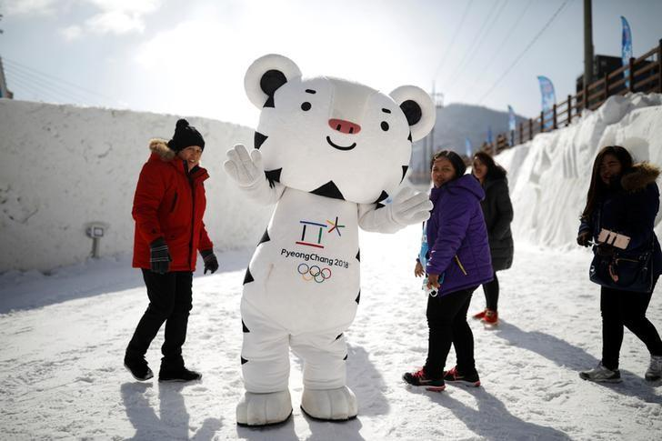The mascot for the 2018 PyeongChang Winter Olympics Soohorang is seen during the Pyeongchang Winter Festival, near the venue for the opening and closing ceremony of the PyeongChang 2018 Winter Olympic Games in Pyeongchang, South Korea, February 10, 2017.  REUTERS/Kim Hong-Ji/Files