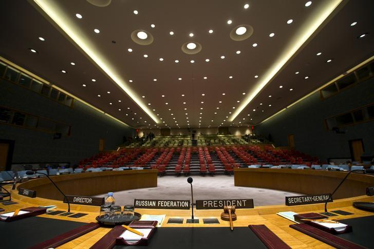 The Security Council chamber is seen from behind the Council President's chair at the United Nations headquarters in New York City September 18, 2015. REUTERS/Mike Segar/File Photo