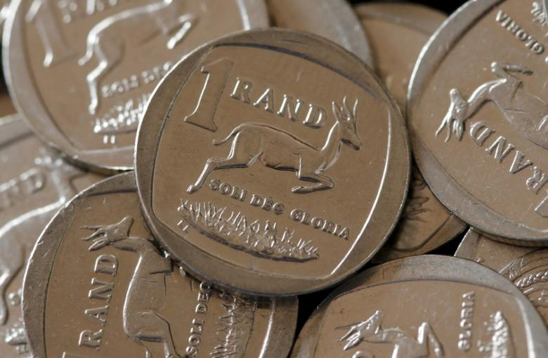 South African Rand coins are seen in this photo illustration taken September 9, 2015.  REUTERS/Mike Hutchings