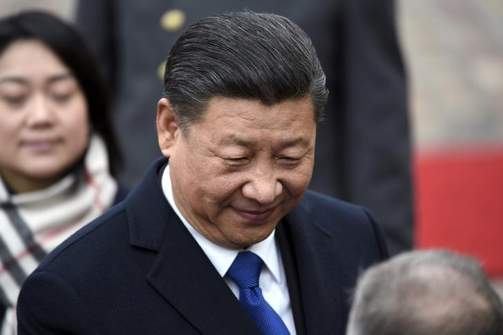 China's President Xi Jinping during the official welcoming ceremony in front of the Presidential Palace, in Helsinki, Finland April 5, 2017. Lehtikuva/Martti Kainulainen/via REUTERS