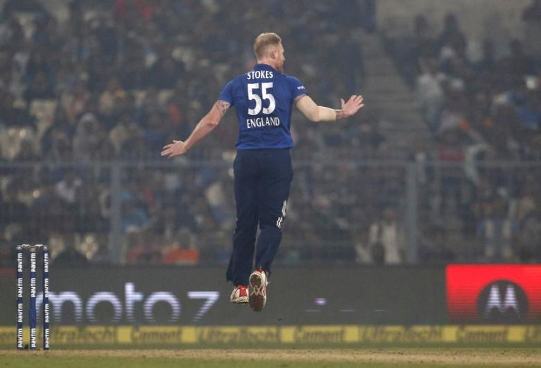 Cricket - India v England - Third One Day International - Eden Gardens, Kolkata, India - 22/01/2017. England's Ben Stokes leaps in the air. REUTERS/Rupak De Chowdhuri