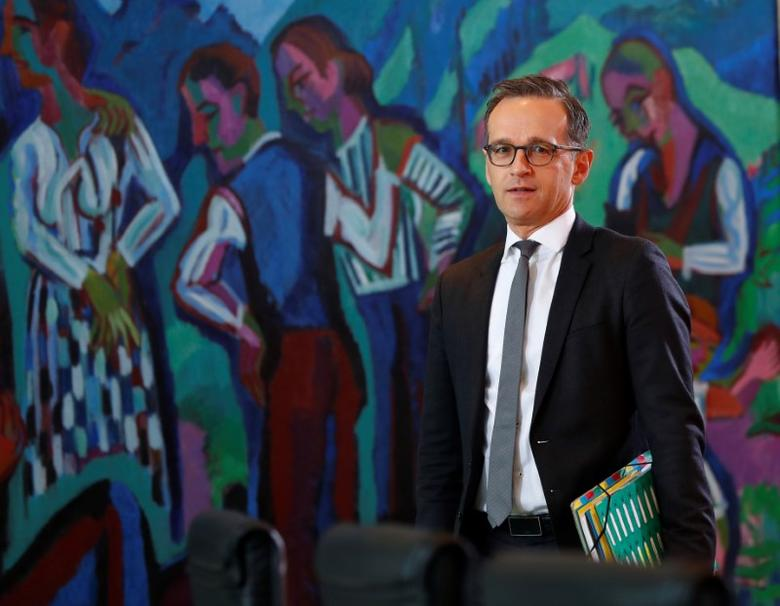 German Justice Minister Heiko Maas before the weekly cabinet meeting in Berlin, Germany, April 5, 2017.     REUTERS/Fabrizio Bensch