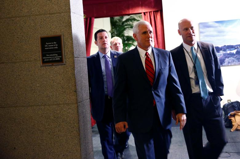 U.S. Vice President Mike Pence departs a healthcare meeting at the U.S. Capitol in Washington, U.S. April 4, 2017. REUTERS/Eric Thayer