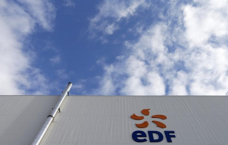 FILE PHOTO - The logo of French state-owned electricity company EDF is seen on the France's oldest nuclear power station of Fessenheim, November 14, 2013 . REUTERS/Vincent Kessler
