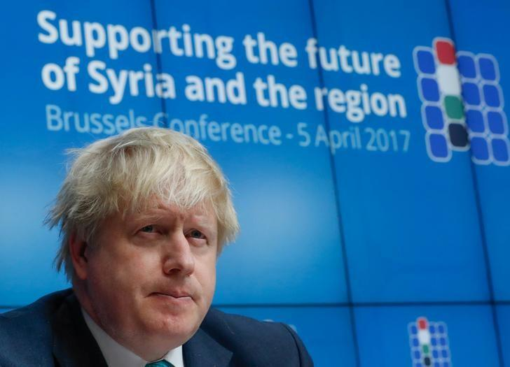 British Foreign Secretary Boris Johnson takes part in an international news conference on the future of Syria and the region, in Brussels, Belgium, April 5, 2017. REUTERS/Yves Herman