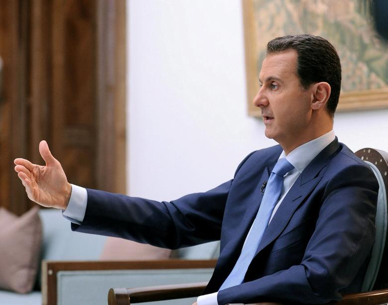 Syria's President Bashar al-Assad speaks during an interview with Croatian newspaper Vecernji List in Damascus, Syria, in this handout picture provided by SANA on April 6, 2017. SANA/Handout via REUTERS