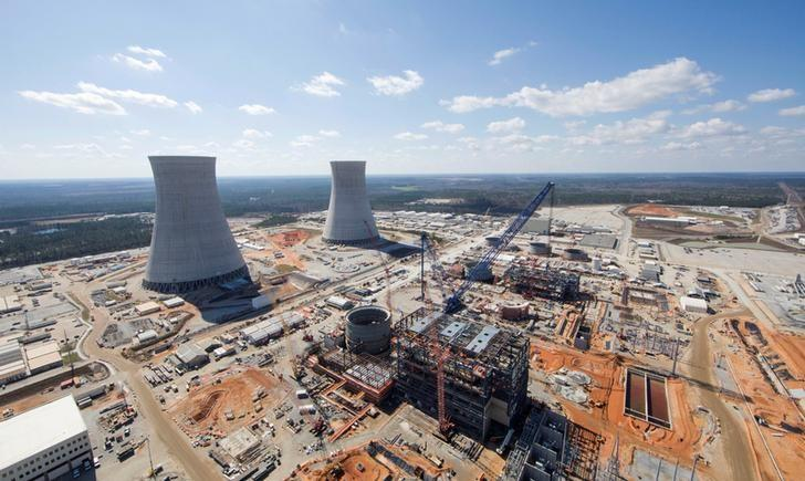 The Vogtle Unit 3 and 4 site, being constructed by primary contactor Westinghouse, a business unit of Toshiba, near Waynesboro, Georgia, U.S. is seen in an aerial photo taken February 2017.  Georgia Power/Handout via REUTERS/Files