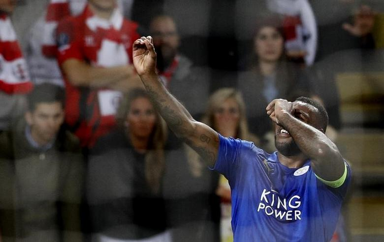 Britain Soccer Football - Leicester City v Sevilla - UEFA Champions League Round of 16 Second Leg - King Power Stadium, Leicester, England - 14/3/17 Leicester City's Wes Morgan celebrates scoring their first goal  Reuters / Darren Staples Livepic