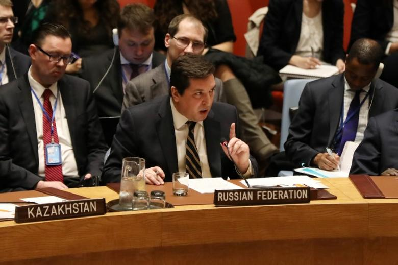 Russian Deputy Ambassador to the United Nations Vladimir Safronkov speaks during a meeting at the United Nations Security Council on Syria at the United Nations Headquarters in New York City, NY, U.S. April 5, 2017. REUTERS/Shannon Stapleton