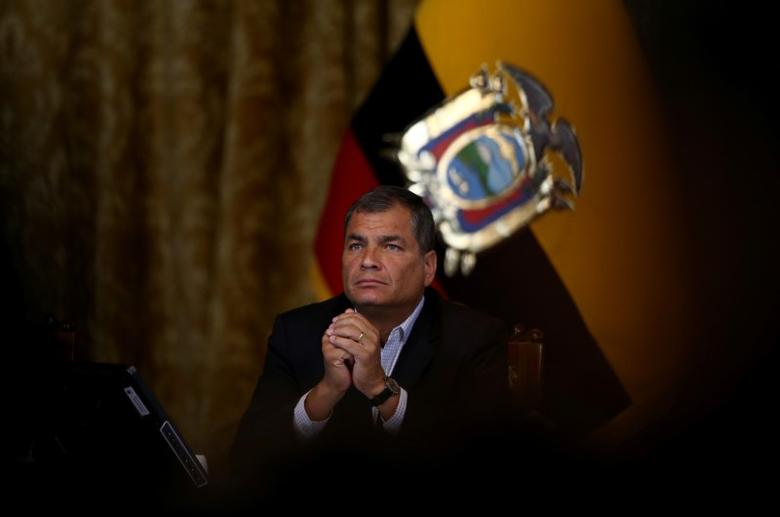 Ecuador's President Rafael Correa gives a a news conference in Quito, Ecuador, February 22, 2017. REUTERS/Mariana Bazo