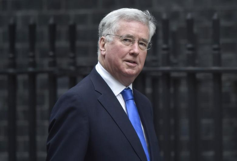 Britain's Secretary of State for Defence Michael Fallon arrives in Downing Street, London March 29, 2017. REUTERS/Hannah McKay