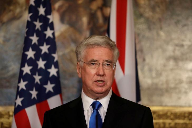 Britain's Defence Secretary Michael Fallon give a news conference with U.S. Defense Secretary James Mattis (not shown) at Lancaster House in London March 31, 2017. REUTERS/Matt Dunham/Pool/Files