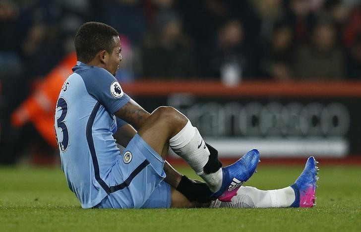 Britain Football Soccer - AFC Bournemouth v Manchester City - Premier League - Vitality Stadium - 13/2/17 Manchester City's Gabriel Jesus sustains an injury  Reuters / Peter Nicholls Livepic