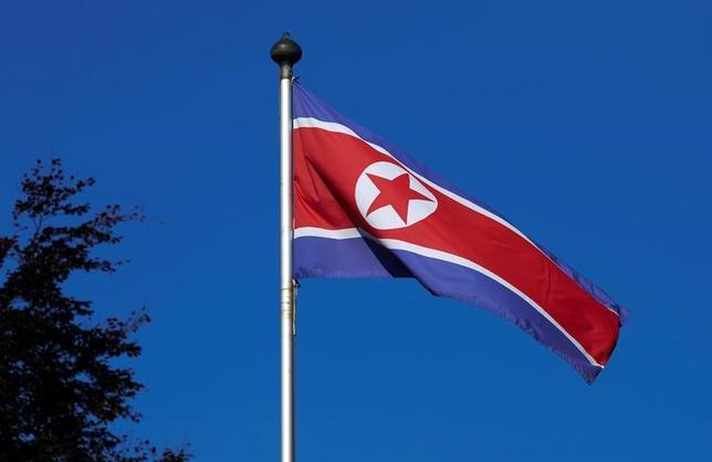 4月11日、北朝鮮は、米国による先制攻撃の兆候があれば米国への核攻撃すると警告した。写真は北朝鮮の国旗、2014年ジュネーブで撮影(2017年 ロイター/Denis Balibouse)