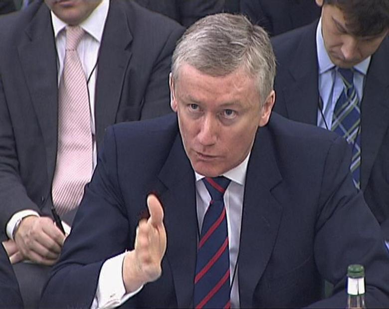 A video grab image shows Fred Goodwin the former chief executive of Royal Bank of Scotland speaking to the Treasury Select Committee in London on February 10, 2009. REUTERS/Parbul TV via Reuters TV