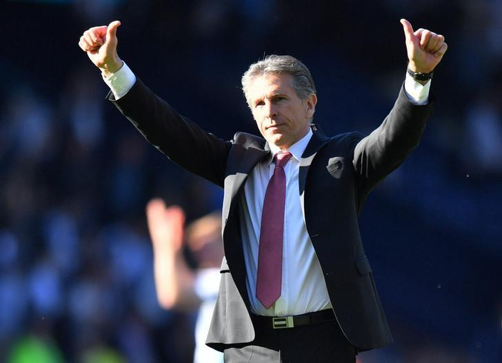 Britain Football Soccer - West Bromwich Albion v Southampton - Premier League - The Hawthorns - 8/4/17 Southampton manager Claude Puel celebrates after the match  Reuters / Anthony Devlin Livepic