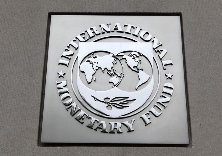 资料图片:2013年4月,美国华盛顿,国际货币基金组织(IMF)logo。REUTERS/Yuri Gripas
