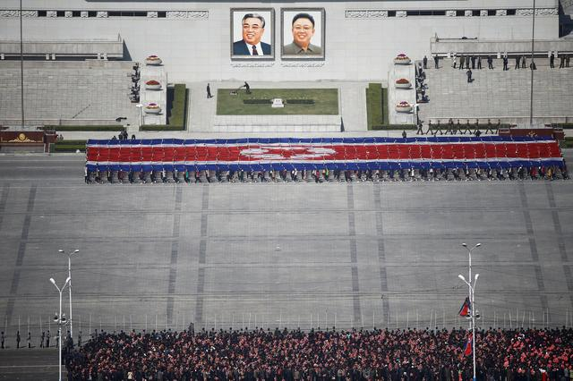 People practice for the expected parade on the main Kim Il-Sung Square in central Pyongyang, North Korea April 12, 2017. REUTERS/Damir Sagolj