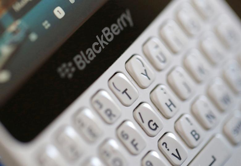 FILE PHOTO - A Blackberry smartphone is displayed in this illustrative picture taken in Bordeaux, Southwestern France, August 22, 2016. REUTERS/Regis Duvignau/File Photo