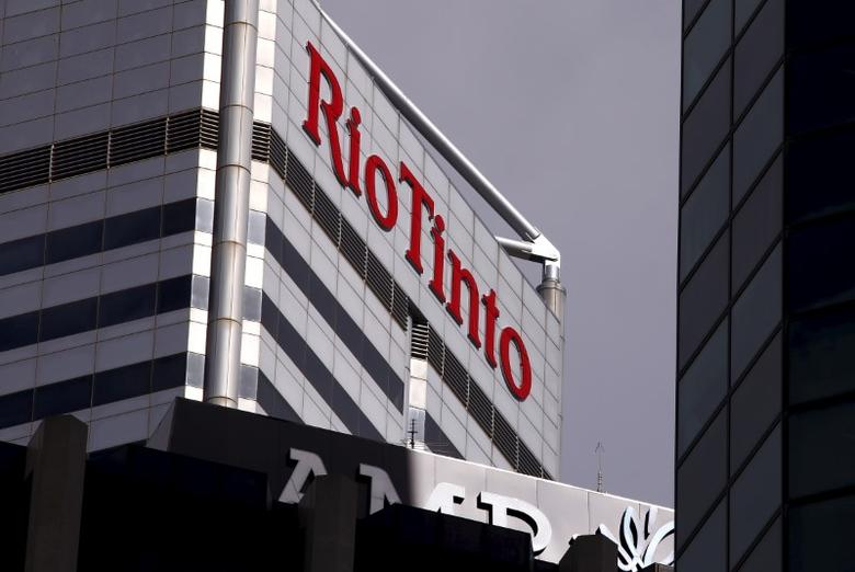 A sign adorns the building where mining company Rio Tinto has their office in Perth, Western Australia, November 19, 2015.   REUTERS/David Gray