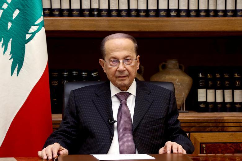 Lebanon's President Michel Aoun is pictured at the Presidential Palace in Baabda, Lebanon April 12, 2017. Dalati Nohra/Handout via Reuters